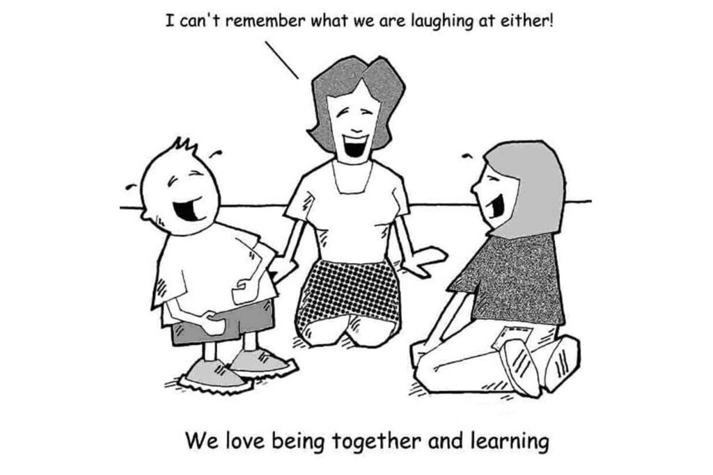 laughing together children and teachers in an early childhood centre