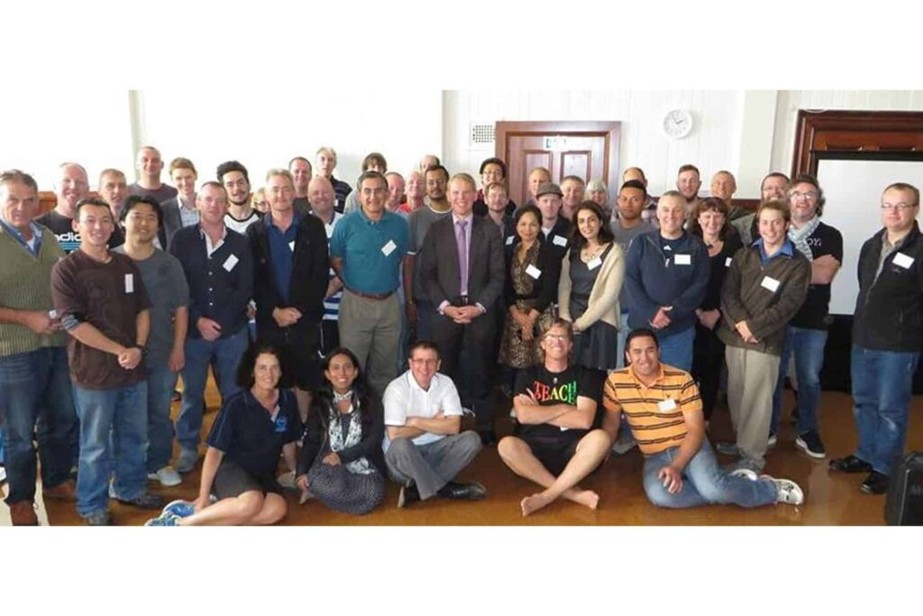 Men In Early Childhood Education National Summit. Minister Chris Hipkins standing centre. Dr Sarah Alexander (organiser) seated front left.