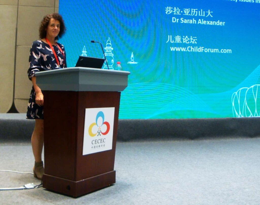 Dr Sarah Alexander presents at the China Early Childhood Conference.