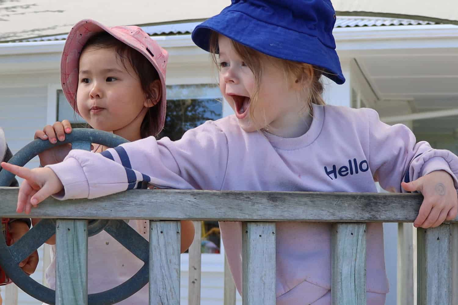 Excited child in early childhood centre playground points out to other children what they should look at.