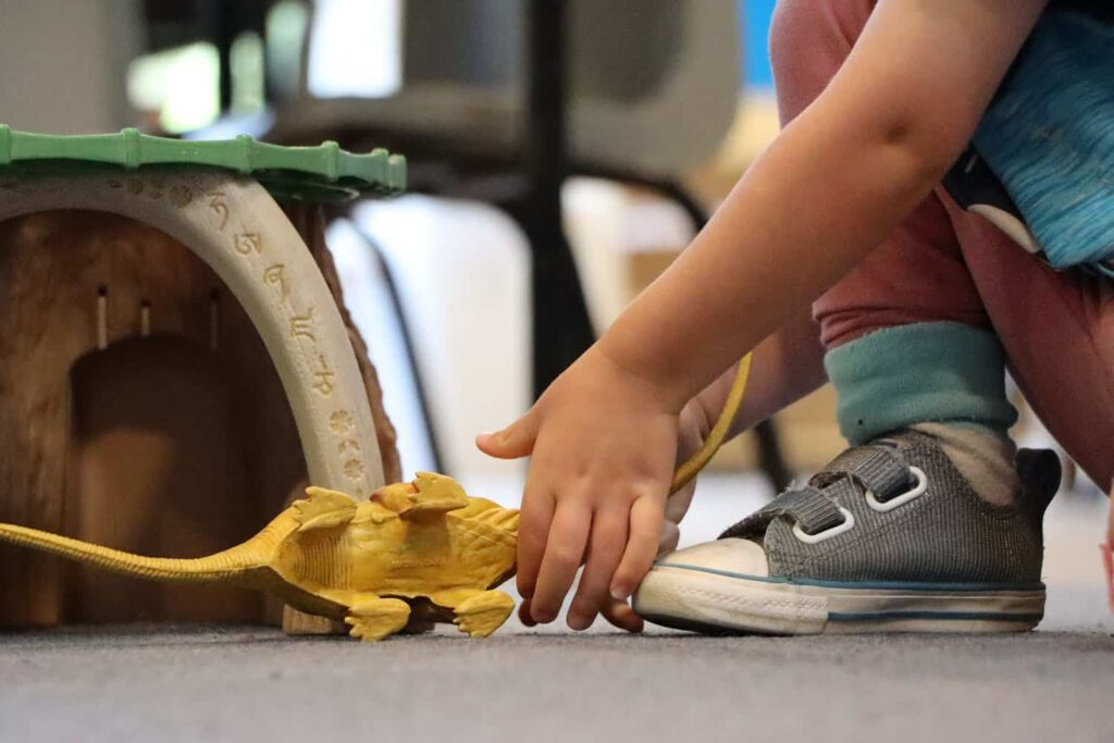 Child goes to pick up a dinosaur toy that has fallen over.