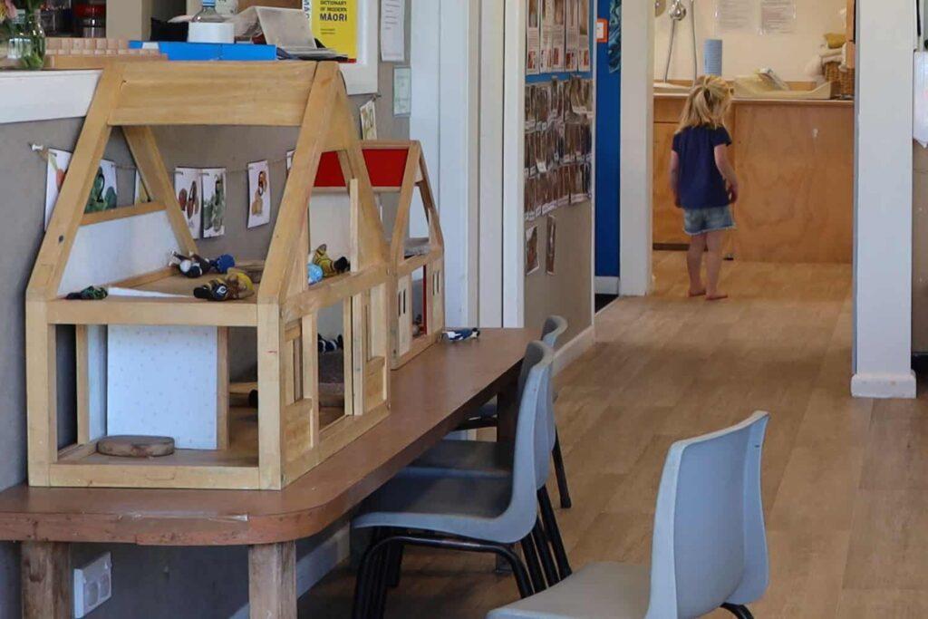 View of inside a preschool playroom, NZ.