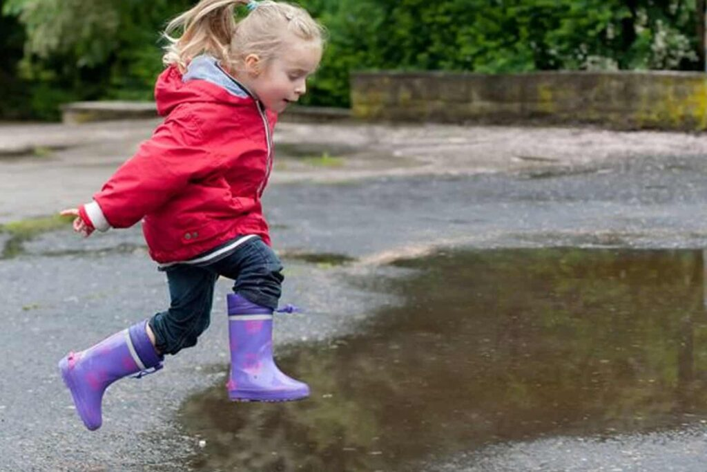 Puddle jumping after the rain
