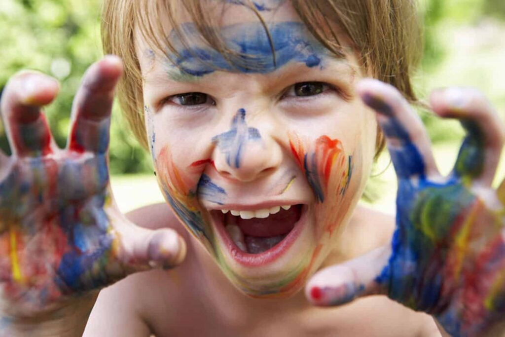 child face painted
