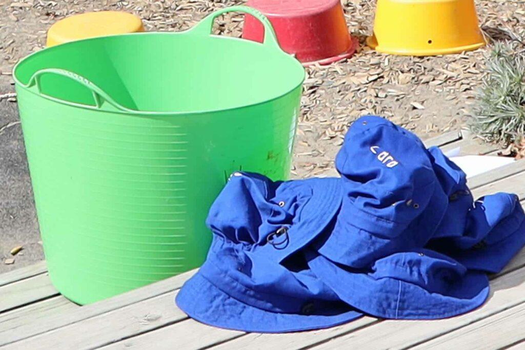collection of sunhats children use when at preschool