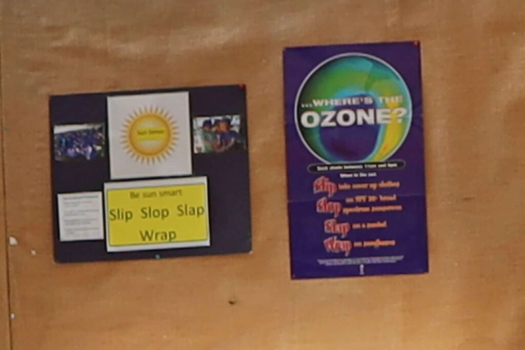 Sun Smart poster display on wall of NZ early childhood centre