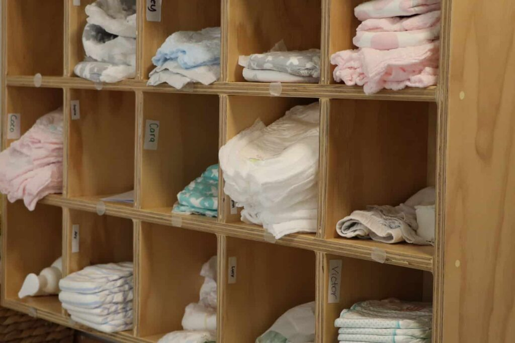 children's nappy/ diaper storage at a NZ early childhood centre